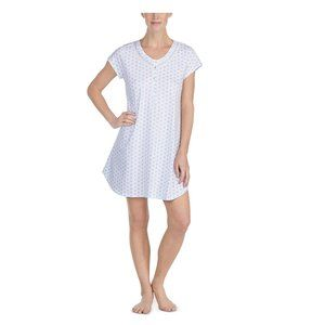 Eileen West Floral-Print Cotton Sleep Shirt-Small